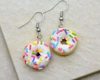 Vanilla Donut Earrings - Silver Toned Brass Earring Hook - Vintage Style - Dainty Dessert Jewelry