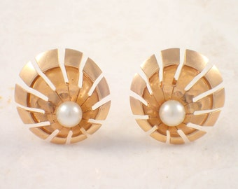 14K Yellow Gold Retro Pearl Earrings