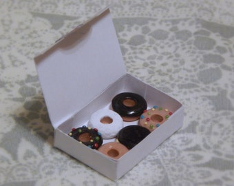 Half a Dozen Doughnuts - Miniature Polymer Clay Doughnuts in a Box