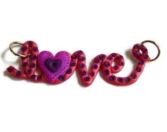 "Pink ""Love"" Pendant"