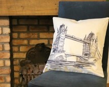 Tower Bridge London Sketch Beige Cushion Cover | Cotton Linen Throw Pillow | 45 cm by 45cm / 18 inches | London themed home decor | Quirky