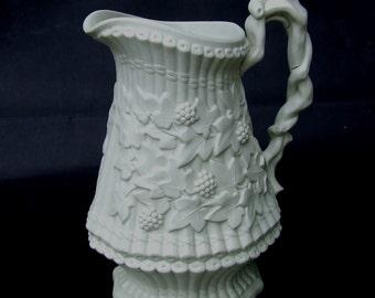 Antique Ridgway Hanley Vine & Bamboo Salt Glazed White Stoneware Pitcher Jug 1849 Victorian Registration