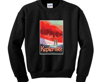 NASA Visions of the Future Keplar 186f Sweatshirt Space Travel Poster Space Science Sci-Fi Jumper Birthday Present Gifts for Men NASA Sweat