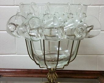 Antique Punch Bowl Glass Brass Victorian 13 Piece Brass Server Party Wedding