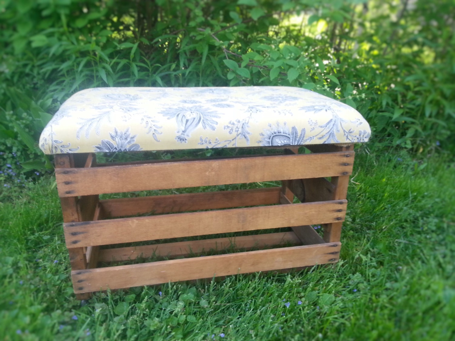 Floral Upholstered Rustic Crate Storage Ottoman on Casters