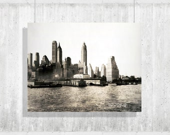 "28.2"" x 36"" - Skyscrapers 1932 - view of the skyline - vintage city photo print New York Skyscrapers Photography"