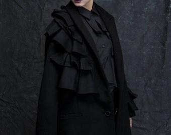 Black ruffled Jacket