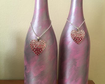Valentine's painted wine bottle