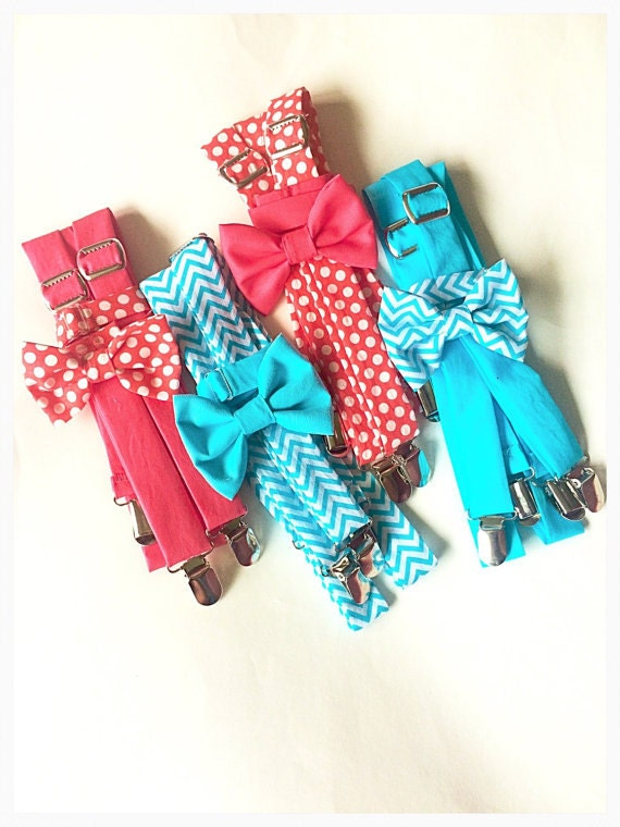 coral aqua bow tie and suspender set aqua suspenders coral