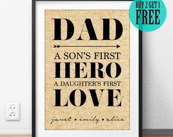 Fathers Day Gift, Gift for Dad, Gift for Father, DAD A Son's First Hero A Daughter's First Love, Personalized Gift, Birthday Gift, CM07