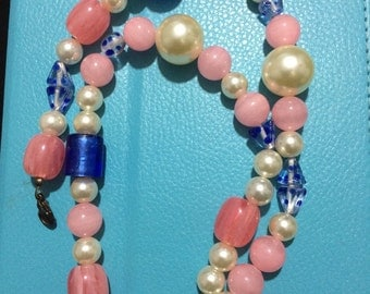 Colored plastic beads necklace