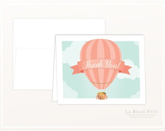 THANK YOU CARDS Up Up + Away Hot Air Balloon birthday party / baby shower