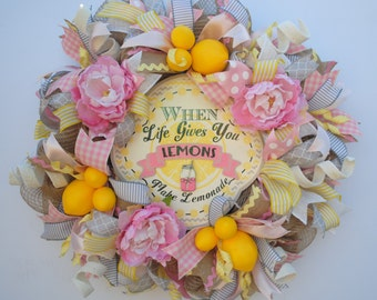 Lemon Wreath, Lemon Burlap Wreath, Pink Lemonade Wreath, Lemonade Wreath, Shabby Chic Summer Wreath, Rustic Summer Wreath, Country Summer