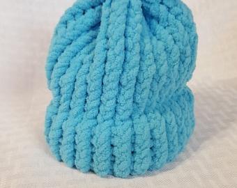 Cozy Knit Newborn Hat, Turquoise