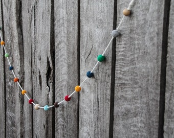 Crochet and Wood Bead Garland ~ Nursery Decor ~ Children's Room Decoration