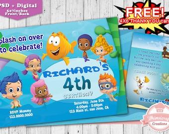 Bubble Guppies Invitation,  Bubble Guppies Birthday Invitation, Birthday Invitation, Bubble Guppies Printable,  Birthday party, invitation