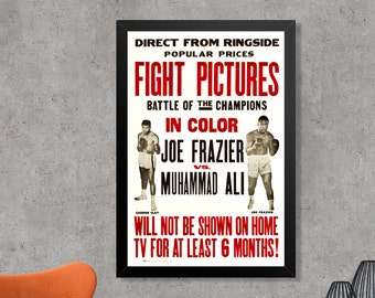 Joe Frazier vs Muhammad Ali 1971 Fight Pictures Boxing Poster Print - Vintage Ali Poster - Vintage Frazier Poster - Vintage Boxing