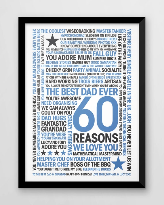 Reasons Y I Love You Quotes : 60th Birthday Print, 60 Reasons We Love You, Personalised print ...