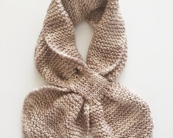 Beige Scarf, Knitted Scarf, Handmade Scarf, Women's Scarf