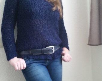 Blue sweater, pulower, knitted sweater, handmade sweater