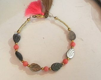 Coral bracelets and mother of Pearl