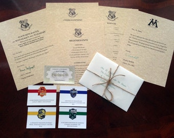 Personalized Hogwarts Acceptance Letters w/ Gold Foil Train Ticket