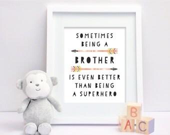 Brother Art Print, Brothers Printable, Brothers Wall Art, Brothers Nursery Decor, Brothers Nursery Art, Tribal Wall Art, Boys Wall Art