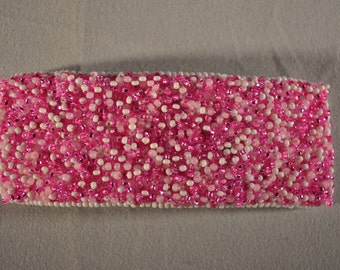 3 pink beaded hair brarrettes