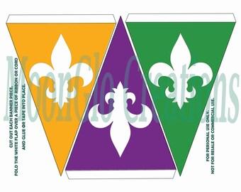 Fleur de lis Banner. Multi colored,Printable download,