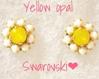 Yellow opal Swarovski flower earrings yellow earrings bridal jewelry bridesmaid earrings gift for her spring earrings