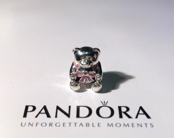 Authentic PANDORA Baby Girl and Baby Boy Teddy Bear Charm (791124EN)