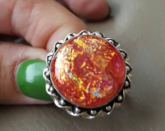 Dichroic Glass Ring- size 8.75!