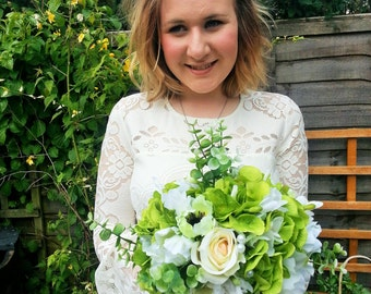 Custom Made Classic White & Green Artificial Wedding Bouquet, Featuring Roses, Anemones and Hydrangea