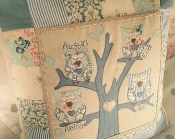 Owl Family Tree Appliqué/Patchwork Cushion