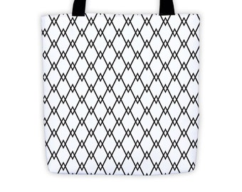 Reusable Tote, Shopping Tote, Black and White Tote Bag, Small Tote Bag, Everyday Tote, Art Tote Bag, Water Resistant Bag, Grocery Bag