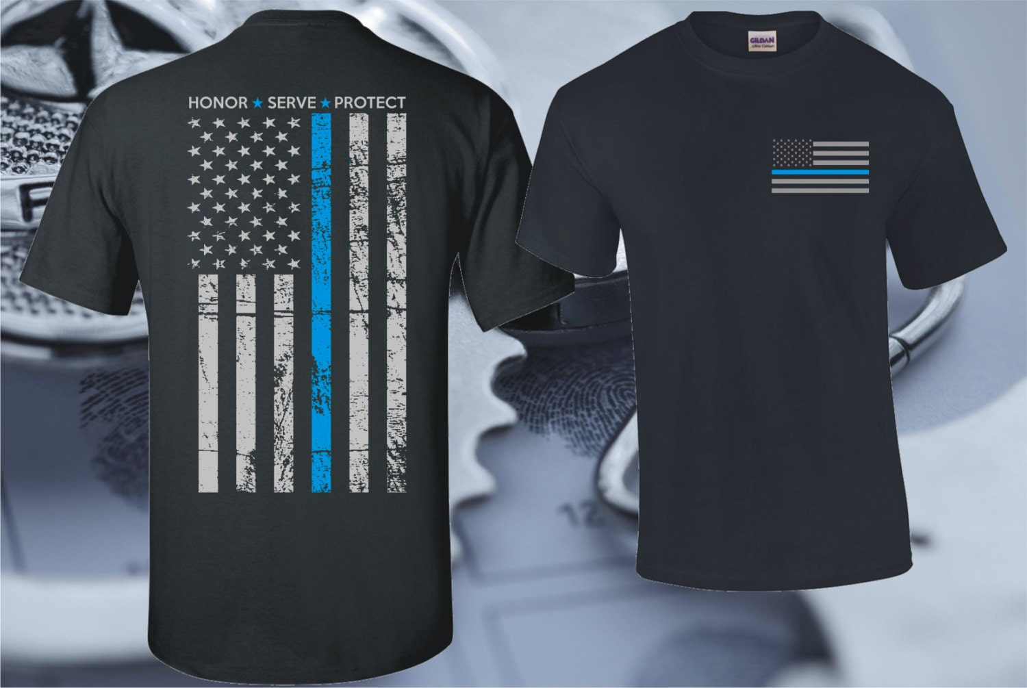 thin blue line honor serve protect t shirt by. Black Bedroom Furniture Sets. Home Design Ideas