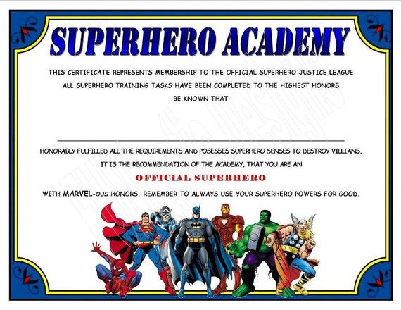 superhero academy certificate digital file instant download