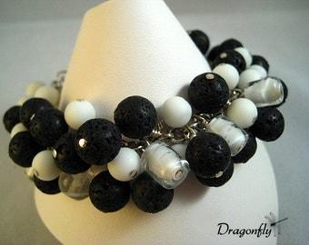 Black Lava, And White Glass Heavily Beaded Bracelet
