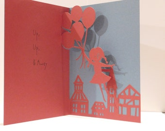 Pop up Greeting card, 3D, up up and away,