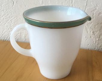 Vintage Pyrex Dinnerware Creamer, regency green with gold tableware retro midcentury milk glass