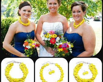 Bridesmaid Jewelry Yellow Necklace & Earring Set - Bridal Jewelry Set Yellow Wedding Jewelry Yellow Bridesmaid Jewelry Beach Wedding