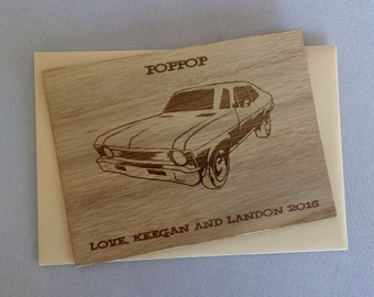 Father's Day Card with Envelope /Engraved Wood Birthday Card with Envelope / '72 Chevy Nova Wood Card /Engraved Wood Birthday Card