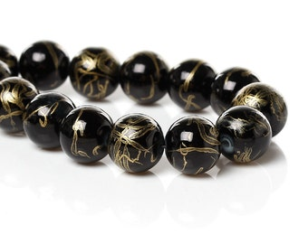 Double Strand of 10 mm Round Glass Beads - Gloss Black with Gold Benchwork (1109)