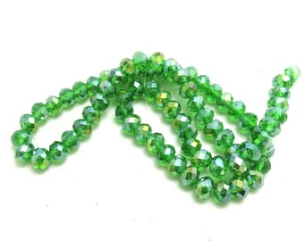 1 Str AB Electroplate Faceted Rondelle Glass Beads 8x6mm (B84d7)
