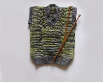Hand-Knitted Sleeveless Sweater