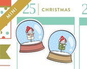 Snowglobe stickers, Christmas planner stickers, snowman, snow day, 18 stickers, MINI size