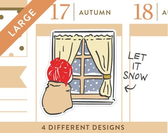 P114- Fall planner stickers, window watching stickers, snow day stickers, cozy stickers, autumn stickers, winter, 8 stickers, LARGE size