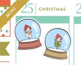 P151-Snowglobe stickers, Christmas planner stickers, snowman, snow day, 18 stickers, MINI size