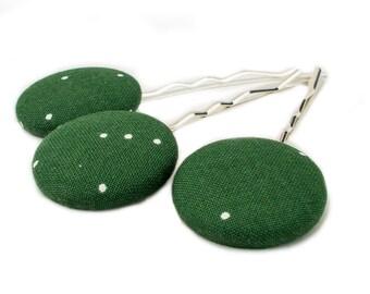 3 Fabric Buttons, Bobby Pins, Green, White, Polka Dots, Minimal, Silver