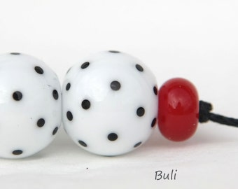 BuliBeads - Handmade Lampwork Glass Beads - White beads - Black  Polka Dots Beads - Red Rondells - Earrings set
